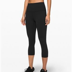 "Lululemon wunder under high rise crop 21"" black 6"